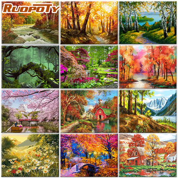 RUOPOTY 40x50cm frameless acrylic painting by numbers landscape on canvas diy Natural forest and trees pictures by number For