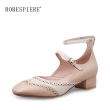 ROBESPIERE New Spring Autumn Mary Janes Shoes Woman Fashion Fretwork Bullock Womens Pumps Mixed Colors Casual Shallow A25