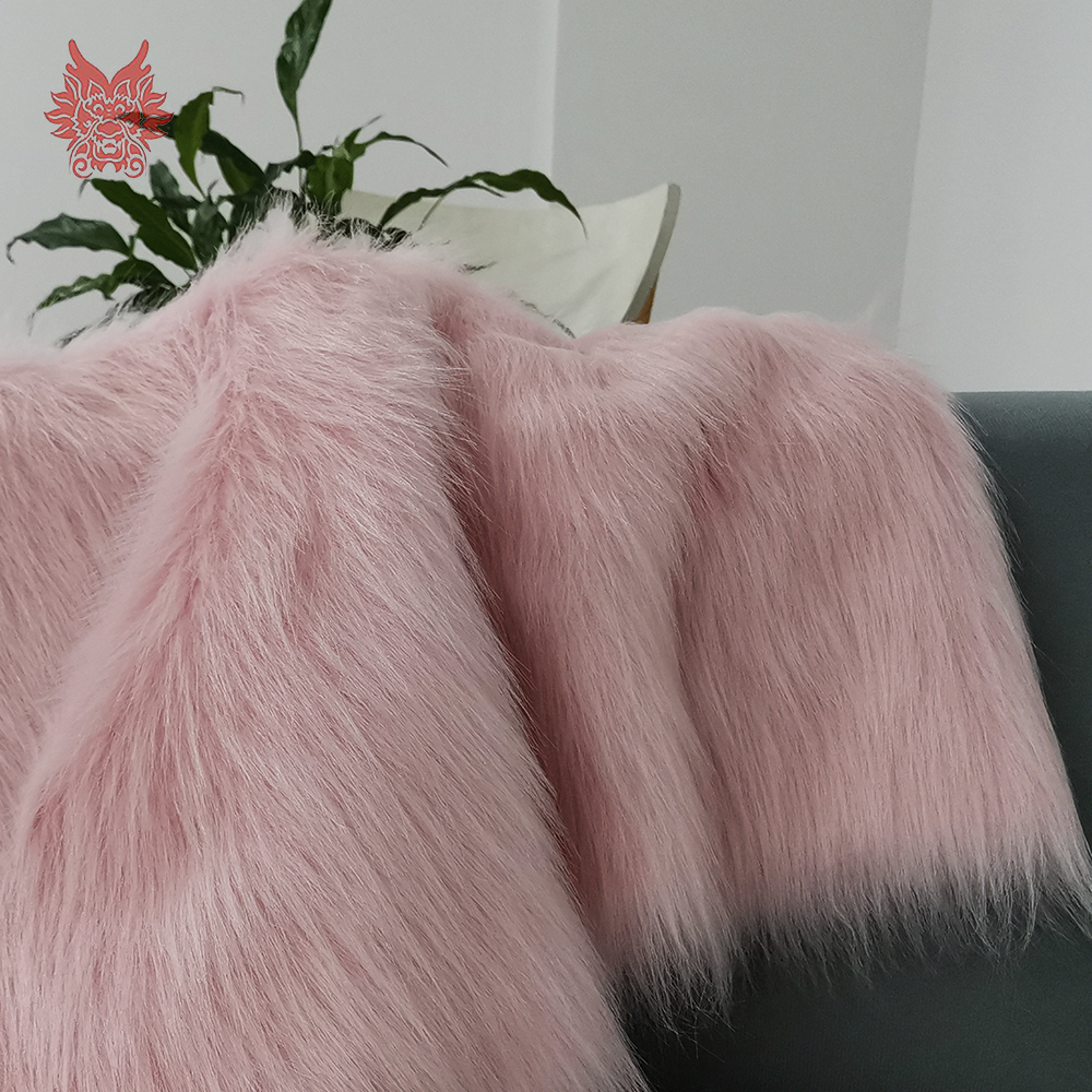 Pink White 7cm Long Plush Fake Fur Fabric For Coat Vest Stage Cosplay DIY Accessories Newborn Photographic Tissu 160*50cm SP5453