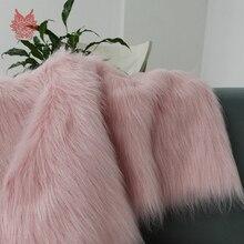 Розовый белый 7 см длинный плюшевый искусственный мех Ткань для пальто жилет сценический Косплей DIY аксессуары для новорожденных фотосъемка tissu 160*50 см SP5453