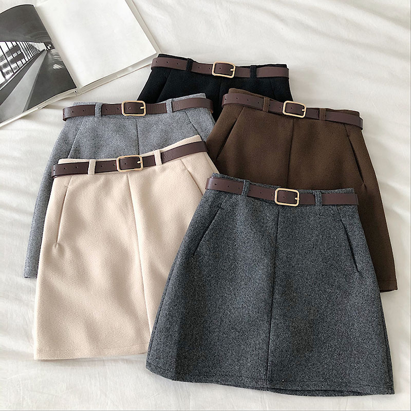 Winter Korean Women Solid A-Line Skirt Casual Female Sashes High Waist Mini Skirt Vintage Empire Above Knee Skirt