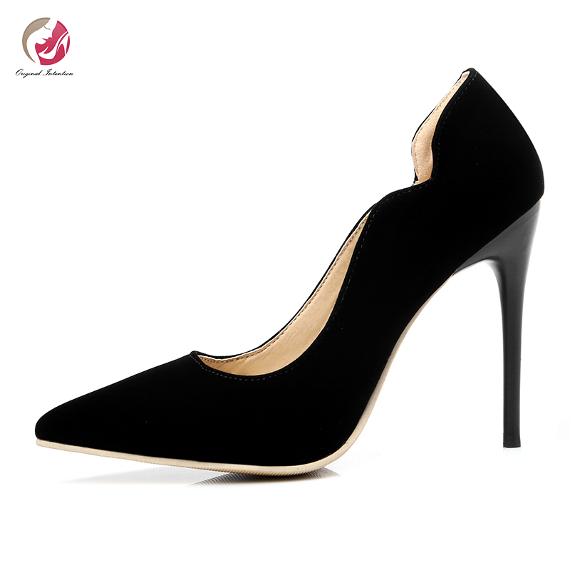 Original Intention Classic Elegant Pumps Woman Candy Colors Pointed Toe Mature <font><b>Sexy</b></font> Party Dress <font><b>Shoes</b></font> Female <font><b>Large</b></font> <font><b>Size</b></font> 4-15 image
