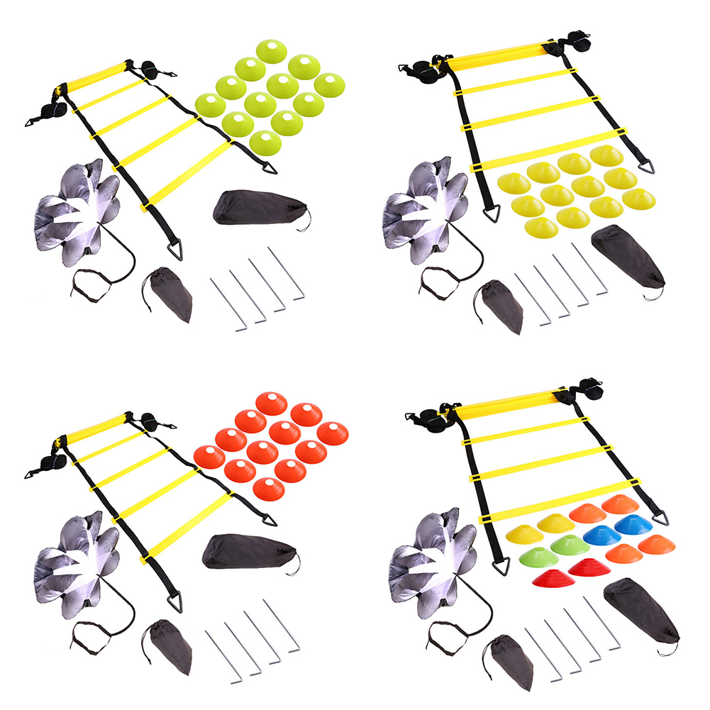 Soccer Football Speed Rungs Agility Ladder Footwork Training & Resistance Parachute Agility Training Set for Running Training