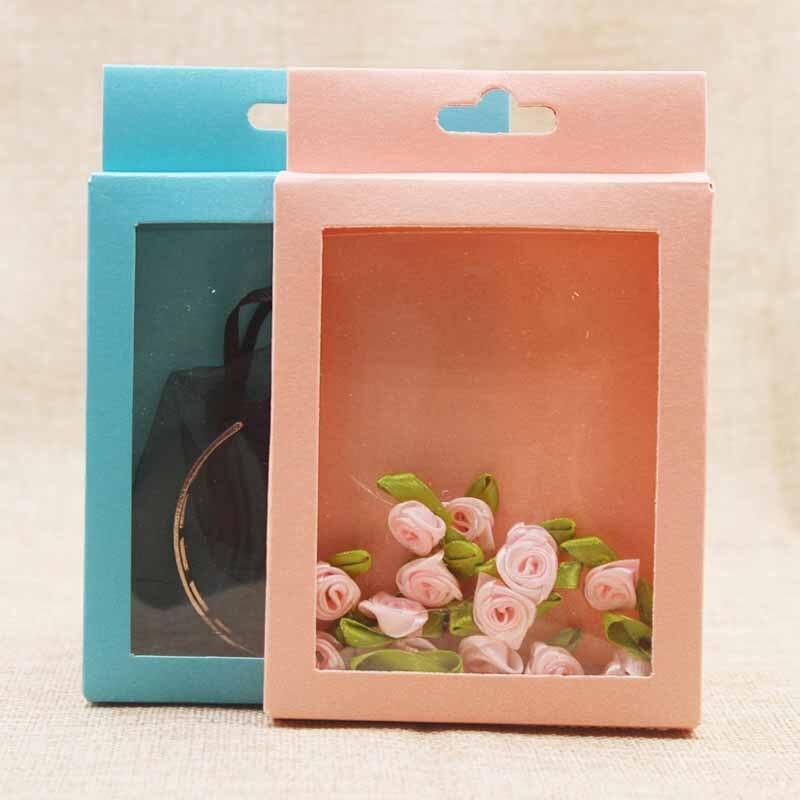 Bijoux 14*9cm rose/bleu papier paquet cadeau boîte. Bonbons de bricolage/faveurs de mariage/boîte de cadeaux avec la boîte-cadeau claire de cintre de fenêtre de pvc 30 pièces