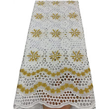 NIAI Pure Cotton Swiss Voile Lace In Switzerland With Stones African Dry Lace Fabric High Quality Nigerian For Wedding XY2939B-1(China)