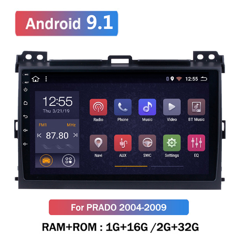 9 inch 2 Din Android 9.1 Car Multimedia Player For <font><b>Toyota</b></font> <font><b>Prado</b></font> <font><b>120</b></font> 2004-2009 Auto Radio 2din GPS Navigation FM Camera DVR OBD image