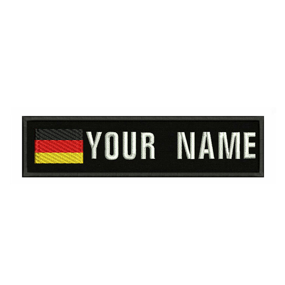 German flag Germany 10X2.5cm Embroidery Custom Name Text Patch Stripes badge Iron On Or Velcro Backing Patches For Clothes