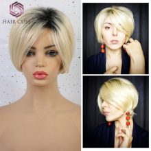 Haircube синтетические короткие прямые волосы смешанные парики женские Боб Стиль 50% человеческие волосы Pixie Cut темный корень блонд парик для женщин