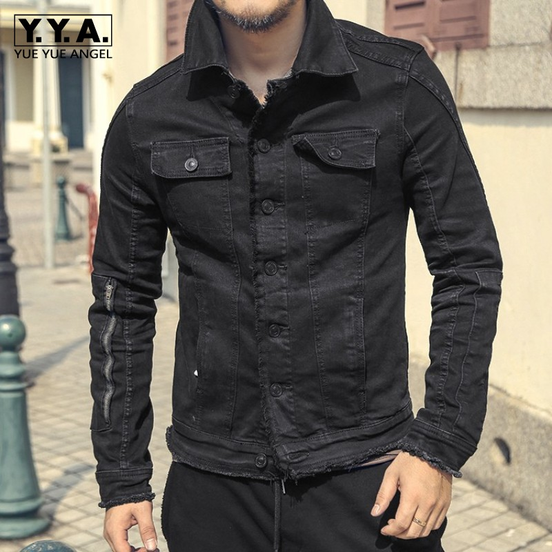 Fashion Mens Slim Fit Black Denim Jacket Motorcycle Cowboy Coat Single Breasted Casual Tassel Streetwear Biker Male Jeans Jacket