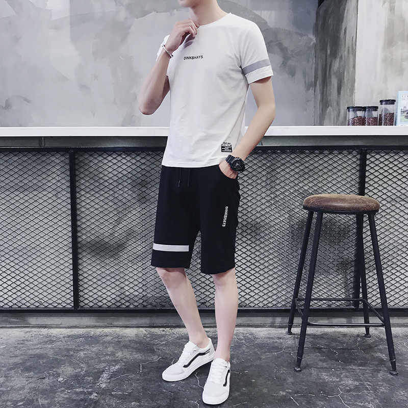 2019 New Style Summer MEN'S Sports Suit MEN'S Short-sleeved T-shirt Casual Shorts Two-Piece Set-Style Quality Men'S Wear