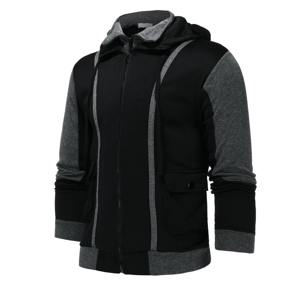 JAYCOSIN 2019 Side Zipper Hoodies Men Polyester Sweatshirt Spring Zipper Fake Two-piece Sweatshirt Tops Blouse Dropshipping New
