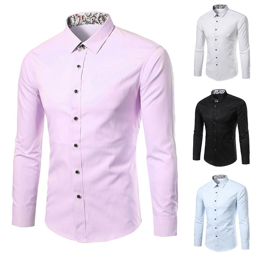Nylon Polyester Plus Size Men Floral  All-match Patchwork Turn Down Collar Long Sleeve Shirt S-lim Fit Top Shirt Men