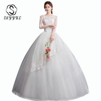 Wedding Dresses O-neck Skkyue ER693 Elegant Half Sleeve Wedding Dresses 2020 Sequined Bridal Gowns Lace Vestido De Novia