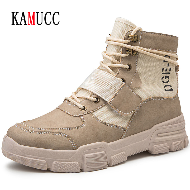2019 New Men Boots Anti-Skidding Leather Shoes Men Popular Comfy Winter Autumn Men Shoes Short Plush Snow Boots Durable Outsole