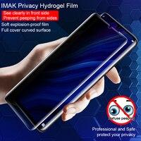 Imak privacidade hydrogel filme suporte ultra-som impressão digital recogniton para huawei p30 pro macio à prova de explosão anti-reflexo filme