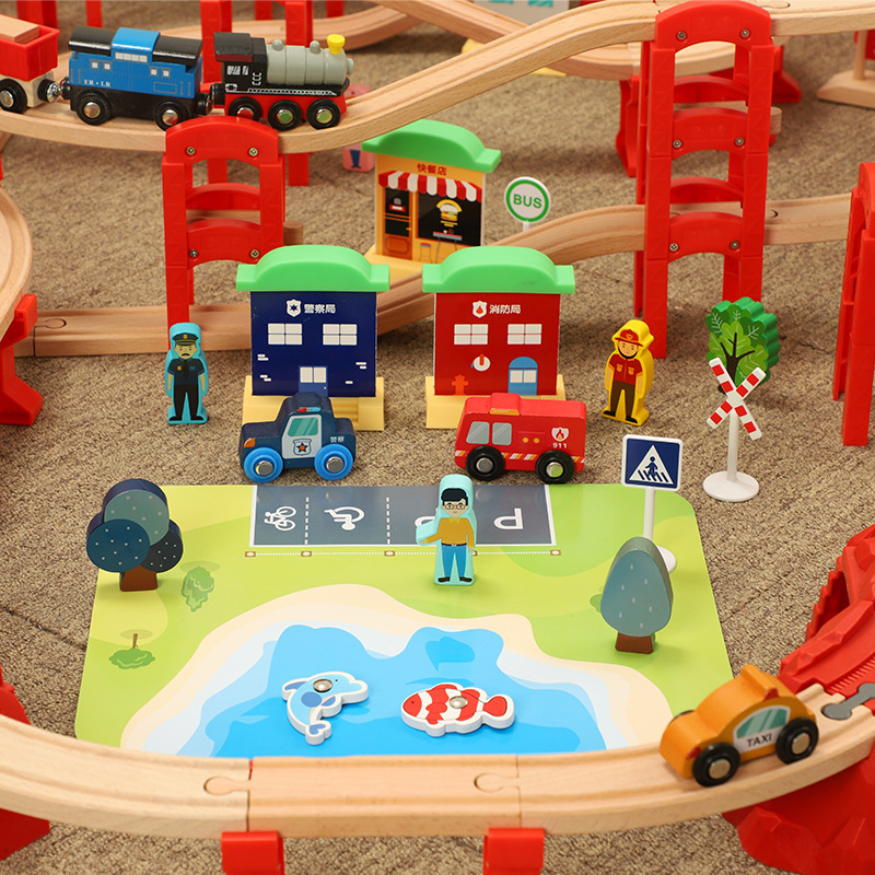 madeira brinquedos locomotiva eletrica 3d anel estereo 05