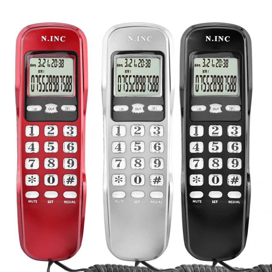 Mini Phone Wall Wired Telephone DTMF/FSK Dual System Caller ID Display Home Office Hotel Landline Phone Telefon Haus Telefones