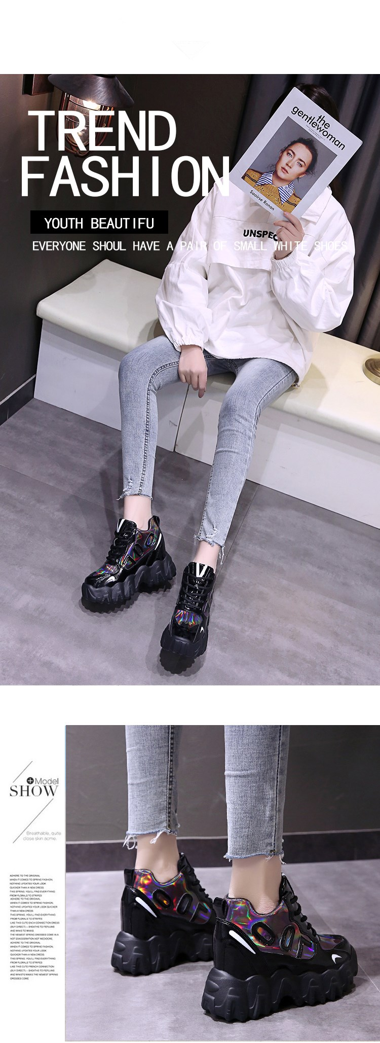 Chunky Sneakers Women 2020 Spring Thick Sole Platform Vulcanize Shoes Woman Lace Up Casual Footwear 10CM Leather Shoe High Heels