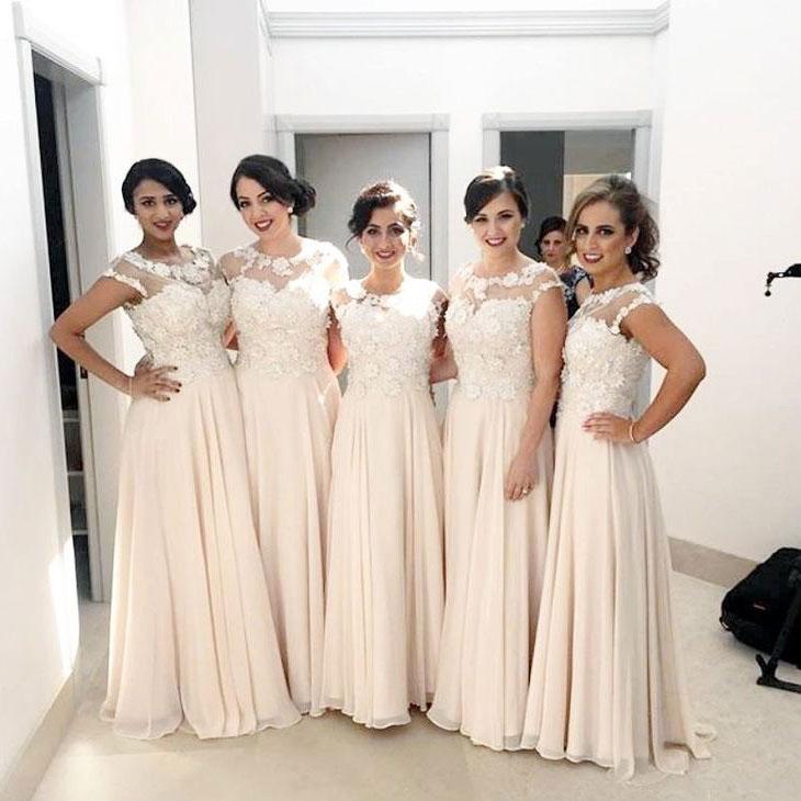 2020 Long Bridesmaid Dresses Illusion Top Women Party Dress Maid Of Honor Dress For Wedding Vestido Dama De Honor
