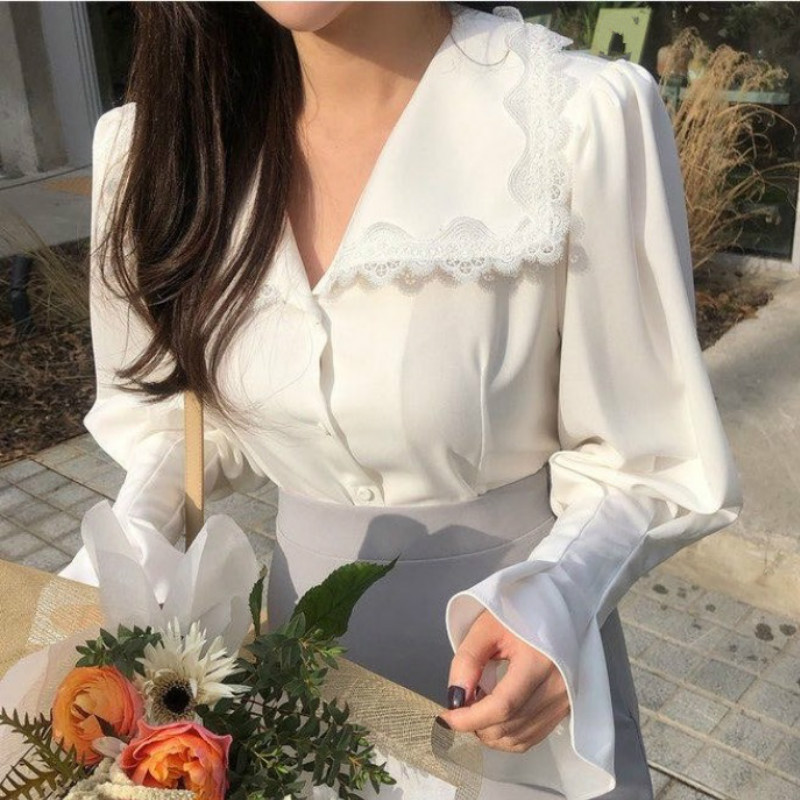 Ezgaga Lace Patchwork Elegant Shirts Turn-Down Collar Long Flare Sleeve Chic French Style White Shirts Office Lady Tops Fashion 2