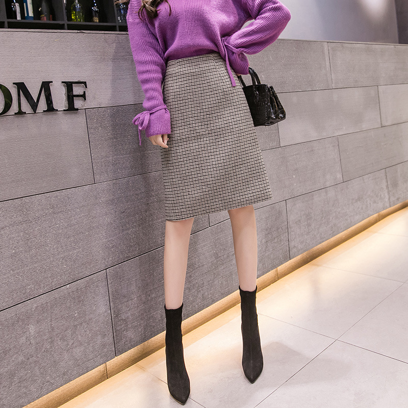 S-2xl High Waist Woolen Midi Skirt Women For Winter 2019 Fashion Hip-wrapped Warm Plaid Women Plus Size Skirts Femme Falda Mujer