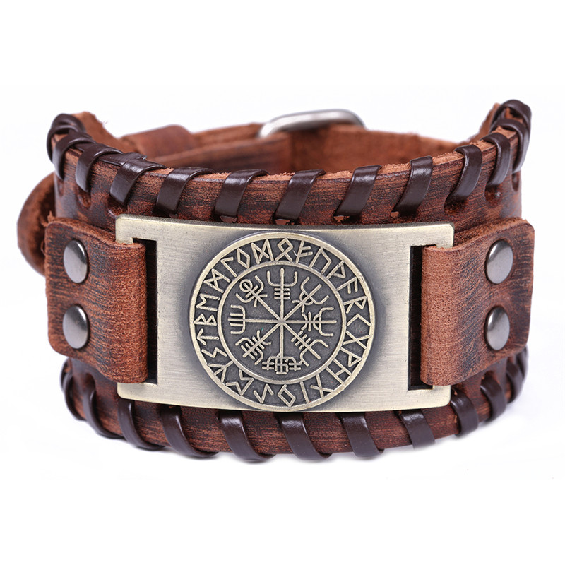 My Shape Wiccan Compass Bangles Nordic Runes Odin Symbol Wrap Genuine Leadership Leather men's Viking Bracelet