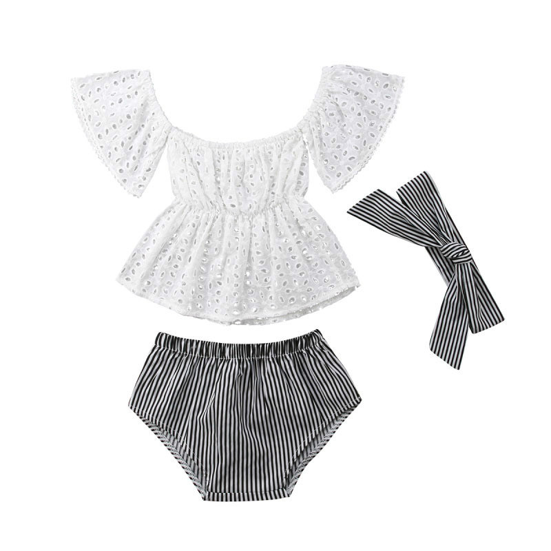 New Baby Girls Clothing Set Toddler Lace Top With Striped Underwear With Headband Newborn Girls Outfits