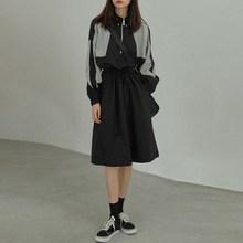 Colorblock Dress Women Streetwear Casual  long Sleeve Dress Black Stand Collar Dress недорого