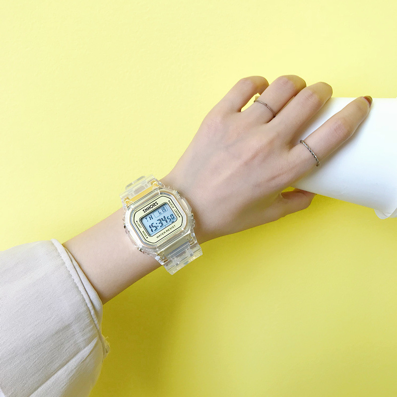 Fashion Men Women Watches Gold Casual Transparent Digital Sport Watch Lover's Gift Clock Waterproof Children Kid's Wristwatch-in Women's Watches from Watches