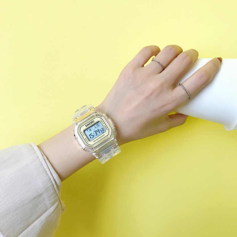 Relojes de moda para hombres y mujeres reloj deportivo Digital transparente Casual dorado reloj de regalo para amantes reloj de pulsera impermeable para niños y Chico
