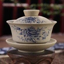 130 мл Чайная Посуда античная грубая керамика ручная роспись Gaiwan, чайная чашка керамическая чашка чайный набор кунг-фу чаша китайский мастер чая чашка Tureen