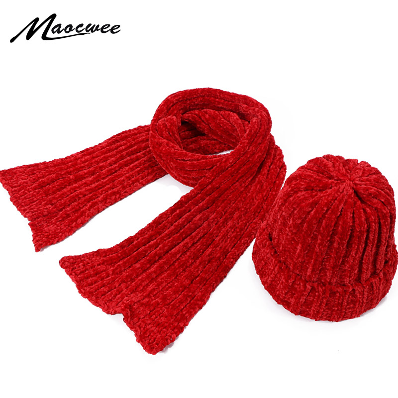 New Winter Chenille Hat Scarf Set Children Woman Knitting Soft Crochet Warm Hat Caps Outdoor Thick Skullies Beanie Scarf Suits