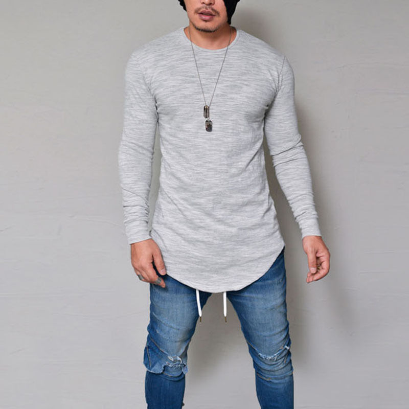 THEFOUND Autumn Winter New Fashion T SHIRT Men Long Sleeved Men's Tees Slim Fit Round O-Neck Pure Color T-shirt Size S-3XL
