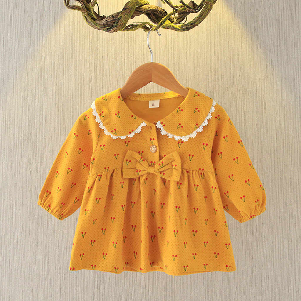 Baby Girl Party Dress Floral Long Sleeve Girls Blouses Clothes Baby Infant Dresses For Party Clothing 6 Month Baby Girl Dresses