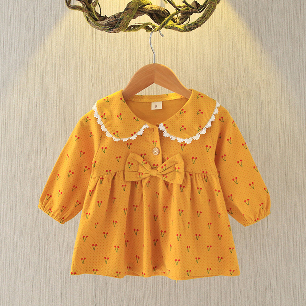 Dresses Long-Sleeve Party Girls Baby Floral for Clothing 6-Month Blouses title=