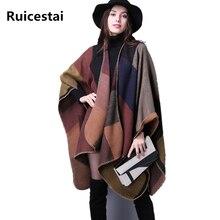 Marca poncho y capas de las mujeres de invierno Manta a cuadros abrigo de punto de Cachemira bufanda del mantón de las señoras de La Vendimia fenmale echarpe pashmina for women poncho bufandas mujer 2016 pasminas