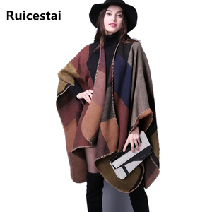 Image 1 - brand 2020 women winter scarf warmer shawl ladies Vintage plaid Blanket knit wrap Cashmere poncho capes female echarpe pashmina
