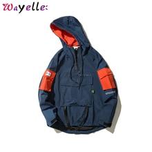 Hip Hop Front Pocket Pullover Jacket Men 2019 Autumn Half Zipper Hoodie Male Casual Loose Windbreaker Coat Streetwear