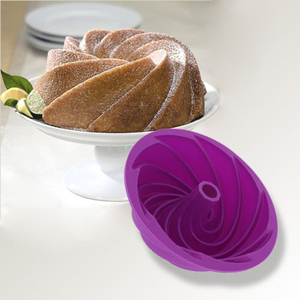 Image 4 - 3D מטבח אפיית עובש עוגת סיליקון צורת מערבולת גדולה כלי טופס עבור מאפיית עוגת עוגת עובש בישול תבנית אפייה פאן