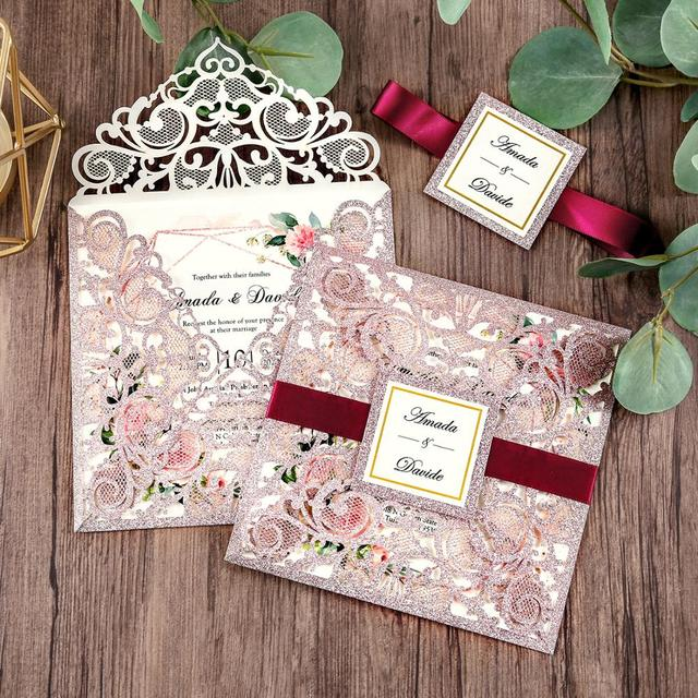 100 piece Rose Gold Color Laser Cut Wedding Invitations with Gold Glitter Border and Envelope CW2519
