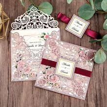 Découpée au Laser couleur or Rose, Invitations de mariage, avec bordure à paillettes en or et enveloppe, 100 pièces, CW2519