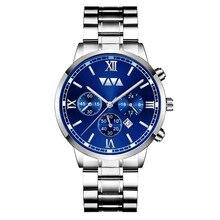 лучшая цена Roman Scale Business Men Watch Stainless Steel Strap Date Display Watch Men Waterproof Second Dial Luxury Quartz Reloj Hombre