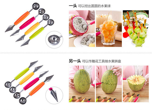 Carving Melon Party Restaurant Stainless Fruit Knife Home Tool Cream Baller Ice Kitchen Spoon Sculpture Scoop Etc Steel