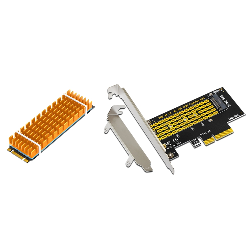 Add on Cards <font><b>Pcie</b></font> <font><b>to</b></font> <font><b>M2</b></font>/<font><b>M.2</b></font> <font><b>Adapter</b></font> Sata <font><b>M.2</b></font> Ssd <font><b>Pcie</b></font> <font><b>Adapter</b></font> <font><b>Nvme</b></font> & Aluminum <font><b>M.2</b></font> Heatsink Cooler Heat Sink Thermal Conductive A image