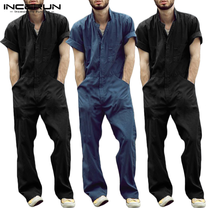 Men Short Sleeves Jumpsuits Leisure Shirt Rompers Summer Male Coveralls Pants