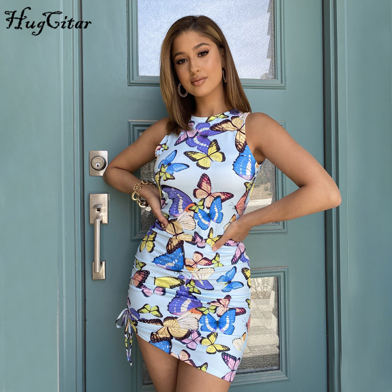 Hugcitar 2020 butterfly print sleeveless bodycon bandage sexy mini dress summer women fashion streetwear outfits sundress
