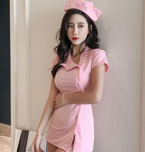 Nurse Costume Set Lingerie Dress+Underwear+hat Nurse Sexy Uniform Role Play Set White Pink