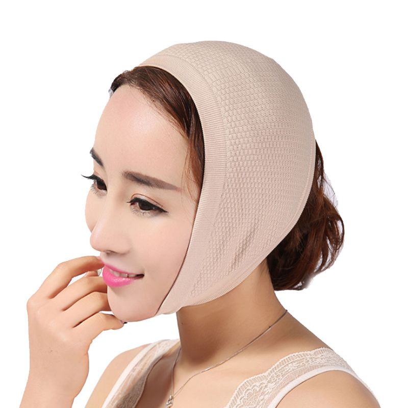 Womens Hanging Ear Slimming Belt Knit Facial Mask V Face Sleep Bandage Reduce Double Chin Lift Firming Correction Beauty Shaper