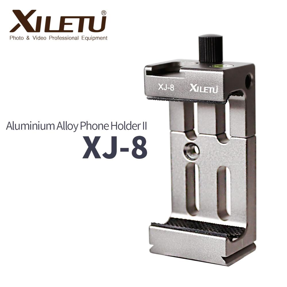 XILETU XJ-8 Tripod Head Bracket Mobile Phone Holder Clip For Phone Flashlight Microphone With Spirit level and Cold Shoe Mount