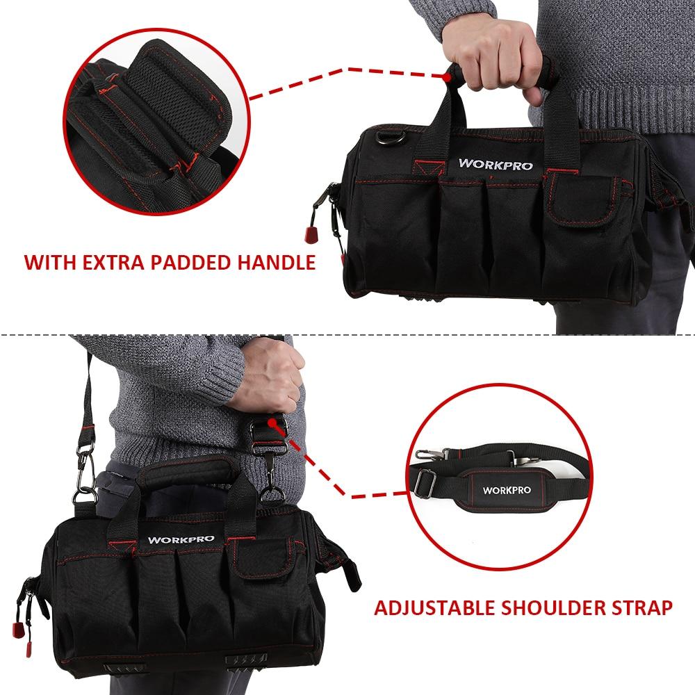 Top SaleWORKPRO 12 inch Tool Bag 600D Polyester Electrician Shoulder Bag Tool Kits Bag